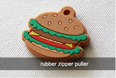 Muiti Colored Rubber Zipper Puller With Cord Any Logo Printable